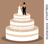 wedding cake with bride and... | Shutterstock .eps vector #674497804
