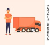 truck driver with his lorry.... | Shutterstock .eps vector #674502241