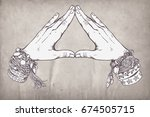 human hands make triangle shape ... | Shutterstock .eps vector #674505715
