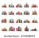 skyline silhouette set  india ... | Shutterstock .eps vector #674508055