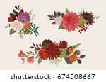 summer and autumn set floral... | Shutterstock .eps vector #674508667