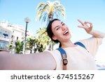 selfie portrait of happy fun... | Shutterstock . vector #674515267
