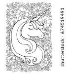 unicorn  flower  floral pattern.... | Shutterstock .eps vector #674519491