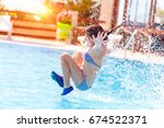 active joyful little girl... | Shutterstock . vector #674522371