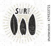vintage label  hand drawn surf... | Shutterstock .eps vector #674523721