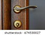 vintage brass door handle with...