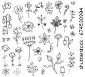 set of elements flower doodle...   Shutterstock .eps vector #674530984