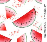 seamless pattern with juicy... | Shutterstock . vector #674533819