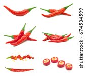 red chili isolated on white... | Shutterstock . vector #674534599