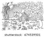 vector illustration zentangl.... | Shutterstock .eps vector #674539501