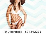 beautiful model with a perfect... | Shutterstock . vector #674542231
