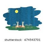 rabbit watching the moonlit... | Shutterstock .eps vector #674543701