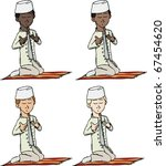 A cartoon of a young Muslim boy with fez making a supplication while sitting on a praying rug. Includes 4 versions in different skin and hair color.