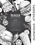 burgers and ingredients vector...   Shutterstock .eps vector #674550091