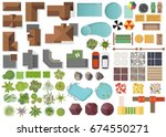 Stock vector set landscape elements top view house garden tree lake swimming pools bench table 674550271
