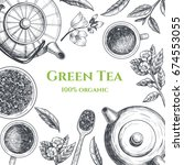 vector frame with green tea. ... | Shutterstock .eps vector #674553055