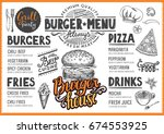 food menu for restaurant and... | Shutterstock .eps vector #674553925