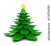 abstract 3d illustration of stylized christmas tree over white background - stock photo