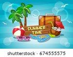 vector illustration summer time ... | Shutterstock .eps vector #674555575