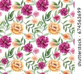floral seamless pattern of...   Shutterstock . vector #674563699