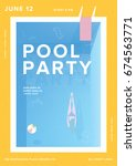pool party vertical poster....   Shutterstock .eps vector #674563771