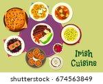 irish cuisine tasty dinner menu ... | Shutterstock .eps vector #674563849