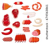 fresh meat cut and sausage... | Shutterstock .eps vector #674563861