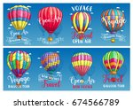 hot air balloon flying in blue... | Shutterstock .eps vector #674566789