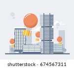 delivery services and e... | Shutterstock .eps vector #674567311