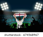 england fan stand up and hand... | Shutterstock .eps vector #674568967