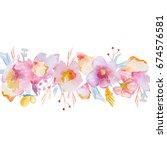 delicate pink flowers frame for ...   Shutterstock . vector #674576581