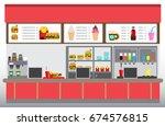 fast food restaurant interior...   Shutterstock .eps vector #674576815