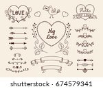 collection of doodle elements... | Shutterstock .eps vector #674579341