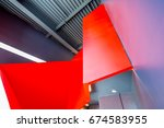 staircase painted in red.... | Shutterstock . vector #674583955