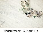 bracelet with charms. selective ... | Shutterstock . vector #674584315