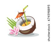 cocktail in coconut tropical... | Shutterstock .eps vector #674598895