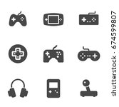 vector black video game icons... | Shutterstock .eps vector #674599807