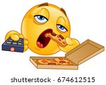 couch potato slob emoticon... | Shutterstock .eps vector #674612515