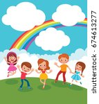 group of children playing and... | Shutterstock .eps vector #674613277