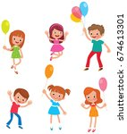 set of funny kids with balloons ... | Shutterstock .eps vector #674613301