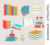 vector books set icon in flat... | Shutterstock .eps vector #674613931