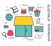 flat style e commerce graphic...   Shutterstock .eps vector #674613979
