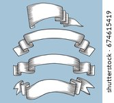 set of old vintage ribbon...   Shutterstock .eps vector #674615419