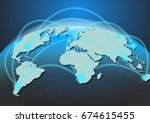 the world connection concept on ... | Shutterstock . vector #674615455