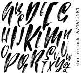 hand drawn dry brush font.... | Shutterstock .eps vector #674615581