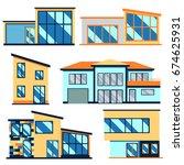 set of modern residential...   Shutterstock .eps vector #674625931
