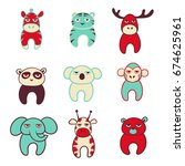 set of cute cartoon animals...   Shutterstock .eps vector #674625961