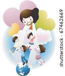 jesus christ and the children | Shutterstock .eps vector #67462669