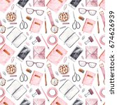 seamless pattern with office...   Shutterstock . vector #674626939