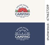 camping logo set color and line ...   Shutterstock . vector #674627209